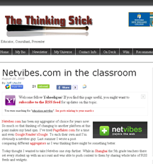 Image and link to the blog: The Thinking Stick, Netvibes.com in the Classroom by Jeff Utecht